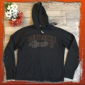 Majestic SF Giants Black Zip Up Hoodie, Size L